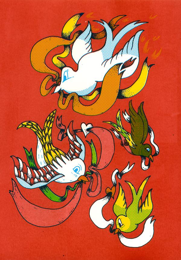 Tattoo Birds 3 Colour Screen Print John Dunbar Kilburn S Blog